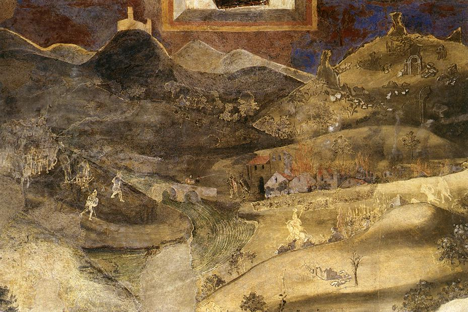 Detail view of Ambrogio Lorenzetti's Allegory and Consequences of Bad Government