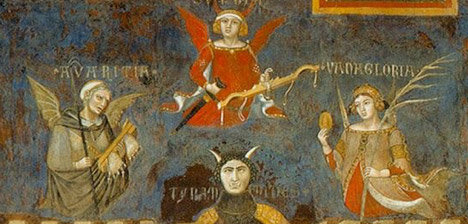 Detail view of the three supreme vices depicted in Ambrogio Lorenzetti's Allegory and Consequences of Bad Government