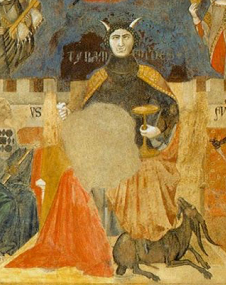 Detail view of the Tyrannide depicted in Ambrogio Lorenzetti's Allegory and Consequences of Bad Government