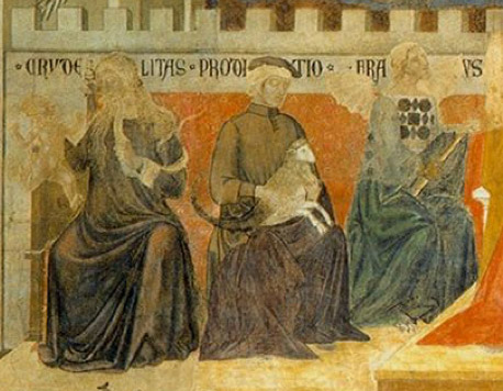 Detail view of the cabinet of earthly vices depicted in Ambrogio Lorenzetti's Allegory and Consequences of Bad Government