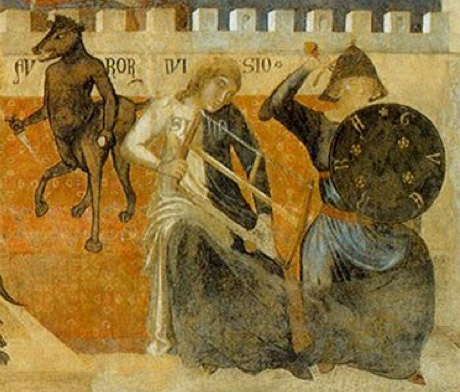 Detail view of Divisio and Guerra depicted in Ambrogio Lorenzetti's Allegory and Consequences of Bad Government