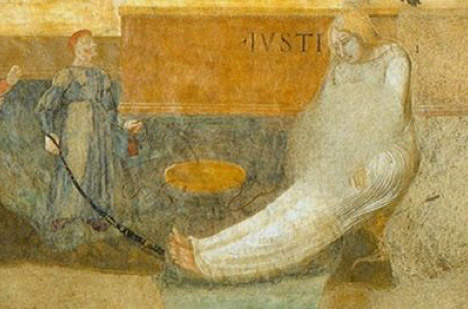 Detail view of the obstructed Iustitia  depicted in Ambrogio Lorenzetti's Allegory and Consequences of Bad Government