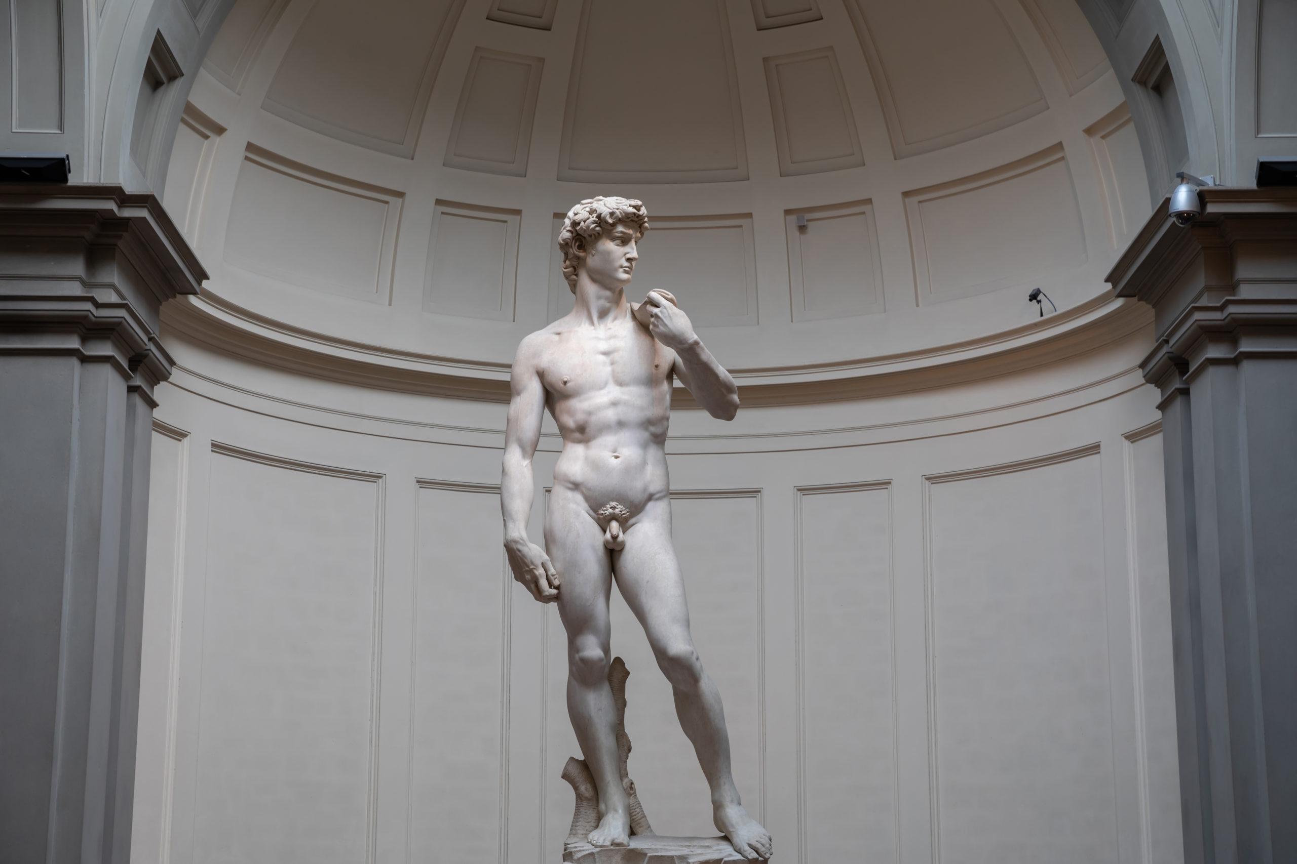 Closeup of Renaissance sculpture is David by Michelangelo