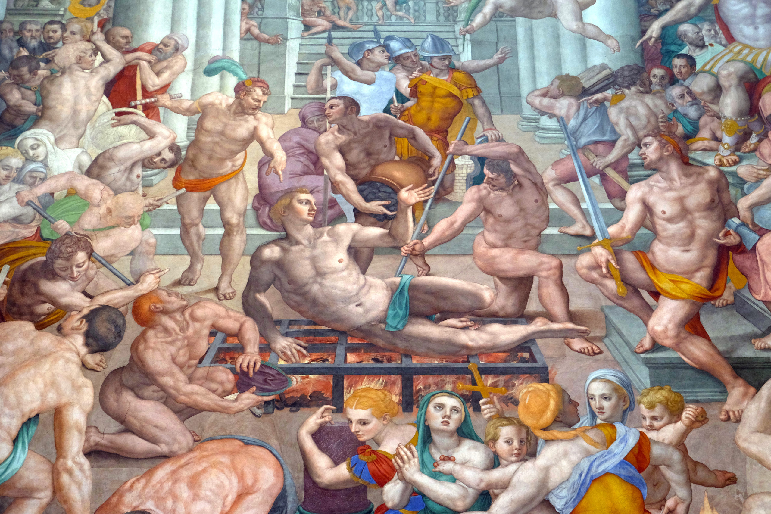 Martyrdom of Saint Lawrence, 1569, fresco by Agnolo Bronzino in the Basilica di San Lorenzo in Florence, Italy
